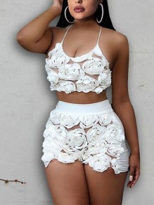 White Patchwork Floral Lace Spaghetti Strap Backless Two Piece Party Short Jumpsuit