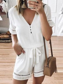 White Drawstring Pockets V-neck Fashion Short Jumpsuit Pant