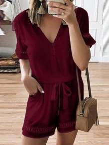 Wine Red Drawstring Pockets V-neck Fashion Short Jumpsuit Pant
