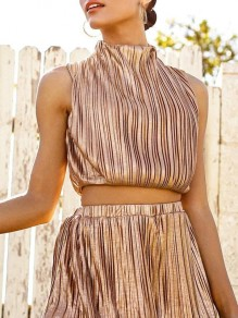 Golden Pleated Band Collar Sleeveless Sparkly Clubwear Party Short Jumpsuit