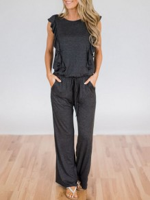 Dark Grey Ruffle Pockets Drawstring High Waisted Fashion Long Jumpsuit