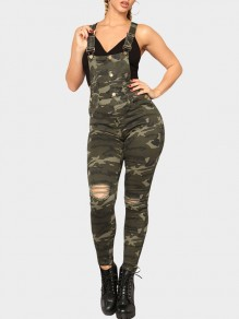 Green Camouflage Cut Out Pockets Buttons Jeans Long Jumpsuit Overall Pants