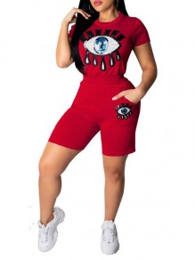 Red Sequin Eye Pockets High Waisted Two Piece Casual Short Jumpsuit