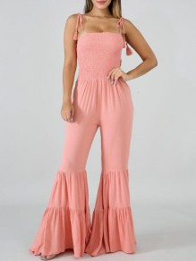 Pink Pleated Spaghetti Strap Backless Flare Bell Bottom Bohemian Long Jumpsuit