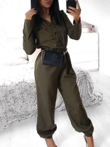 Green Pockets Sashes Single Breasted Turndown Collar Long Sleeve Fashion Long Jumpsuit