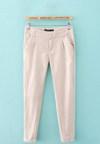 Khaki Plain Low Waist Nine's Straight Pants