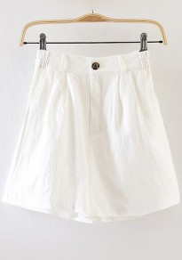 White Plain Zipper Shorts