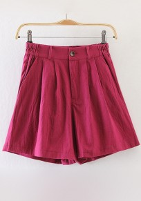 Wine Red Plain Zipper Shorts