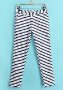 White Striped Zipper Nine's Pants