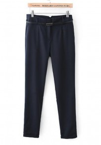 Navy Blue Plain Zipper Nine's Pants