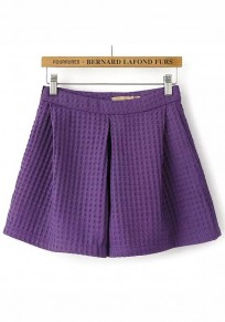 Purple Plain Zipper Shorts