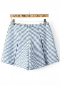 Dark Blue Striped Zipper Shorts