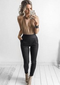 Black Plain Pleated High Waisted Casual Polyester Long Pants