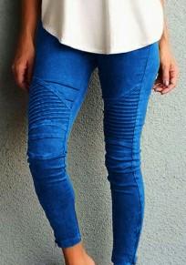 Pantalons crayon longue plissé taille haute slim fitness mode décontracté bleu femme