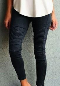 Schwarz Ebene Taschen Elastische Taille Mid-Anstieg Lange Hosen