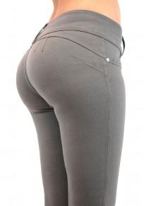 Pantalones largos sencillos botones bolsillos cintura normal casuales gris