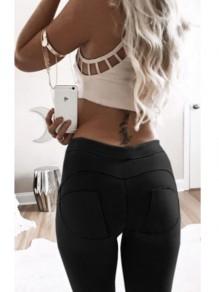 Schwarz Volltonfarbe Elastische Taille Schlank Beiläufige Leggings Sexy Push Up Hosen Lang Damen Mode