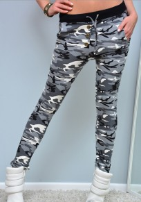 Pantalones largos bolsillos cordón cintura alta camuflaje gris