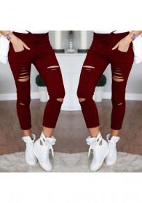 Pantalon uni ajouré cordon de serrage pur coton de mode 7/8 rouge lie de vin