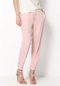 Pantalon long uni poches cordon taille normale occasionnel rose