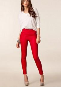Red Plain Pockets Zipper High Waisted Long Pants