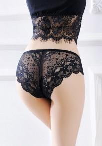Black Plain Hollow-out Elastic Waist Lace Shorts