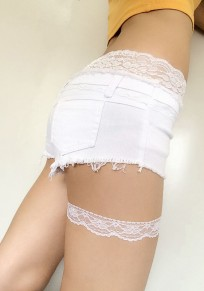 White Patchwork Lace Buttons Pockets High Waisted Shorts