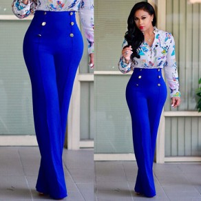 Blue Double Breasted Elastic Waist High Waisted Wide Leg Long Pants