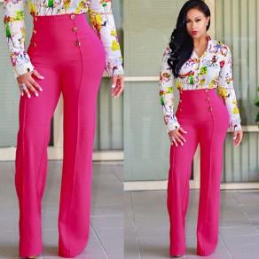 Pantalon long mouton rose framboise double élastique taille haute taille