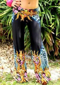 Pantalones largos costura floral cintura normal casuales suelto negro