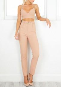 Pantalones largos bolsillos con cremallera cinturón cintura alta casuales khaki