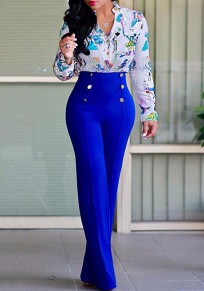Dark Blue Double Breasted Sewing High Waisted Fashion Long Pants