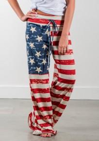 Beige-rot Gestreift Amerikanische Flagge Drucken Kordelzug Taille Oversize Beiläufig Lange Hosen