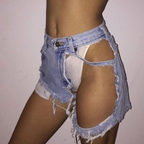 Blue Buttons Pockets Ripped Destroyed Mid-rise Oversize Denim Shorts