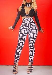 Pantalones largos impresión de la letra de alta waisted flaco casuales blanco-negro
