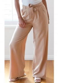 Pantalon long poches fermeture éclair ceinture plissée décontractée jambe large kaki