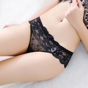 Black Floral Lace Bowknot Elastic Waist Low-rise Shorts