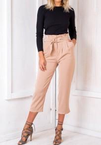 Jeans cinturones bolsillos plisados cintura alta nueve de color caqui