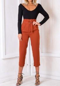 Jeans écharpes poches plissées à taille haute neuf marron