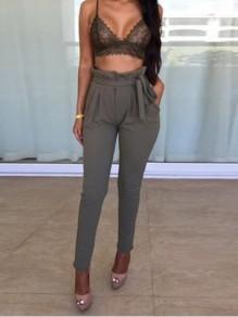 Grey Ruffle Sashes Pockets Casual Pants