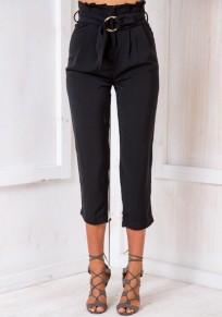 Black Sashes Pockets High Waisted Elegant Seven's Pants