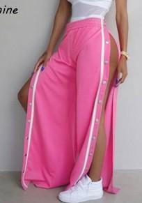 Pantalones largos botones algodón elástico rosa