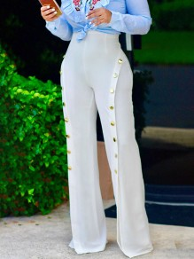 White Buttons Zipper Sewing High Waisted Casual Long Wide Leg Pants