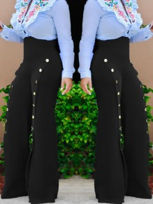 Black Buttons Zipper Sewing High Waisted Casual Long Pants