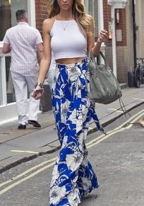 Pantalones flores imprimen fajas cubiertas de cintura alta bohemia amplia pierna azul