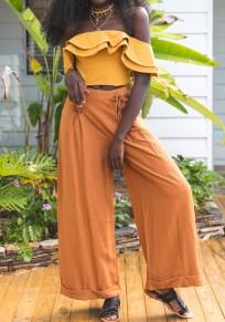 Orange Belt Elastic Waist High Waisted Wide Leg Palazzo Boho Long Pants