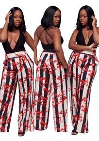 Pantalones largos bolsillos de estampado florales de cintura alta bohemia amplia pierna rojo
