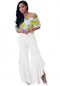 White Irregular Ruffle Side Slit Fashion Long Pants