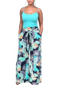 Pantalons longues étuis imprimés fleuri élastiques décontractés multicolores