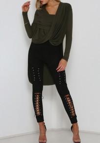 Pantalons longue découpé avec lacets haute cintrée fitness sexy femme noir